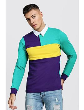 Colour Block Long Sleeve Rugby Polo by Boohoo