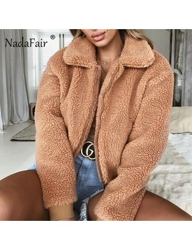 Nadafair Faux Fur Coat Women Autumn Winter Fluffy Teddy Jacket Coat Plus Size Long Sleeve Outerwear Turn Down Short Coat Female by Nadafair