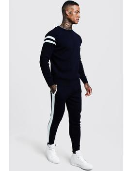 Knitted Sweater Tracksuit With Side Panel by Boohoo