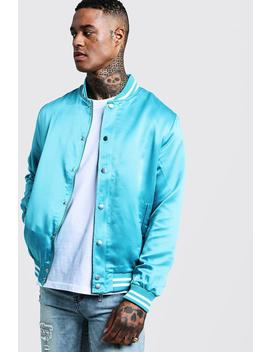 Back Embroidered Varsity Bomber by Boohoo