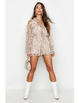 Floral Chiffon Ruffle Cold Shoulder Playsuit by Boohoo