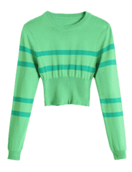 Striped Round Neck Short Sweater   Green by Zaful