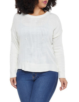Plus Size Faux Pearl Studded Sweater by Rainbow