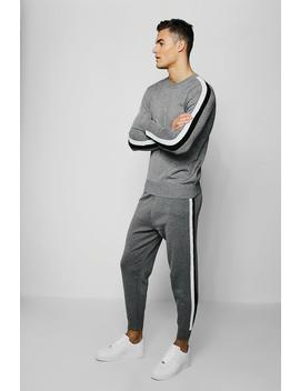 Man Signature Knitted Tracksuit by Boohoo