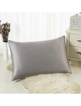 Alaska Bear   Natural Silk Pillowcase, Hypoallergenic, 19 Momme, 600 Thread Count 100 Percent Mulberry Silk, Standard Size With Hidden Zipper(1, Grey) by Alaska Bear
