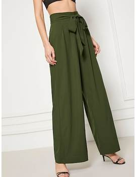 Waist Belted Wide Leg Pants by Shein