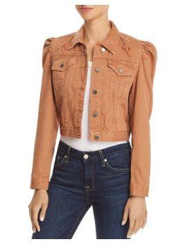 Puff Sleeve Distressed Cropped Denim Jacket by Blanknyc