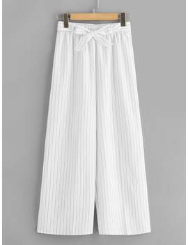 Striped Belted Wide Leg Pants by Sheinside
