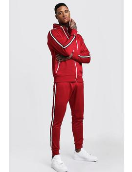 Tricot Zip Through Tracksuit With Tape Detail by Boohoo