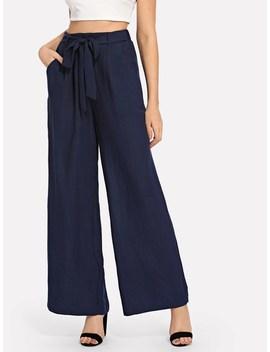 Slant Pocket Belted Wide Leg Pants by Shein