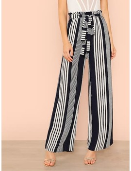 Frill Belted Striped Pants by Shein