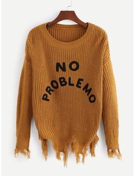 Raw Hem Drop Shoulder Letter Sweater by Sheinside