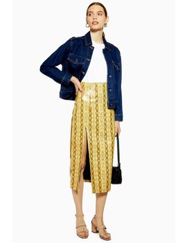 Snake Pu Midi Skirt by Topshop