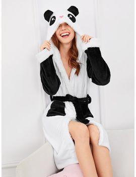 Panda Self Belted Hooded Robe by Sheinside
