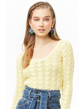Scoop Back Open Knit Sweater by Forever 21