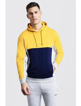 Colour Block Panel Over The Head Hoodie by Boohoo