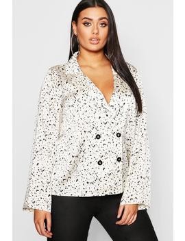 Plus Smudge Spot Revere Collar Satin Shirt by Boohoo