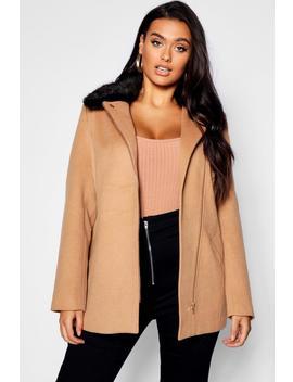 Plus Rose Zip Front Faux Fur Collar Coat by Boohoo
