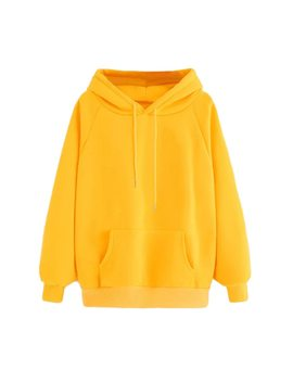 Women Yellow Hoodie Autumn Long Sleeve Sweatshirt Pocket Drawstring Hooded Solid Color Casual Pullover #Jn by Feitong