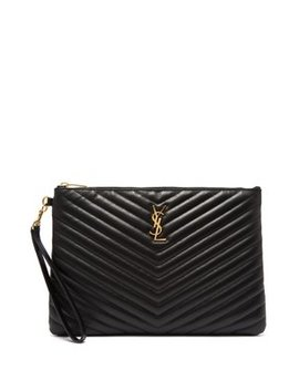 New Jolie Logo Quilted Leather Pouch by Saint Laurent