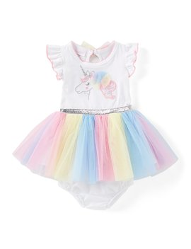 Baby Girls Newborn 24 Months Unicorn Applique Tutu Fit And Flare Dress by Bonnie Jean