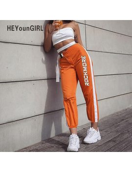 He Youn Girl High Waist Sweatpants Women Casual Streetwear Capri Pants Womens Patchwork Track Pants Letter Print Long Trousers     by Heyoungirl