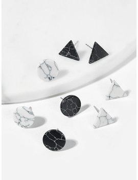 Marble Pattern Geometric Stud Earrings 4pairs by Sheinside