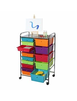 Seville Classics 15 Drawer Organizer Cart Pearlescent Multi Color by Seville Classics