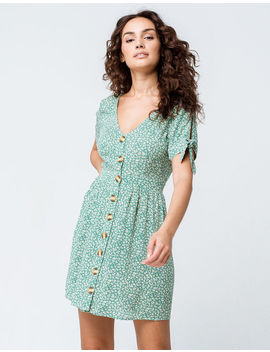 Sky And Sparrow Ditsy Floral Button Front Sage Dress by Sky And Sparrow