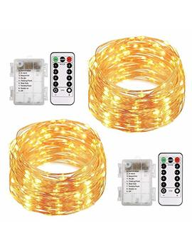 Aloveco Led String Lights With Remote, 2 Pack 66ft 200 Led Fairy Lights Battery Operated, 8 Modes Waterproof Copper Wire Lights For Party Wedding Christmas Outdoor Decoration by Aloveco