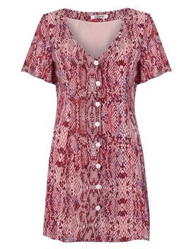 **Snakeskin Button Front Tea Dress By Glamorous by Topshop