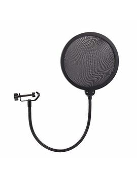 Nulink Microphone Pop Filter Dual Layer Mesh Shield With Swivel Mount 360 Flexible Gooseneck Clip Stabilizing Arm by Nulink