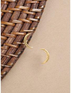 Gold Stud Crescent Moon Earrings by Sheinside