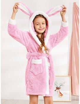 Girls Rabbit Plush Hooded Robe by Sheinside