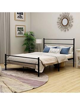 Metal Bed With Headboard Mattress Foundationt Platform Frame Metal Slat Black Full Size by Dumee