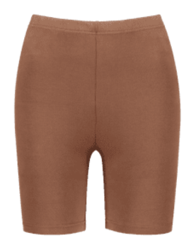 Mid Waist Plain Biker Shorts   Coffee M by Zaful