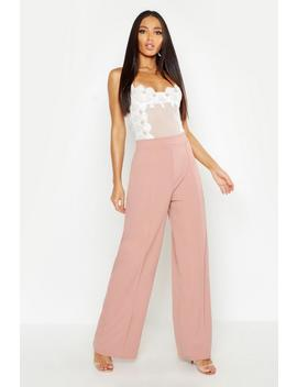 High Waisted Seam Front Wide Leg Trousers by Boohoo