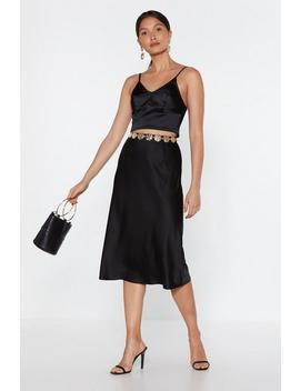 Satin Bias Cut Midi Skirt by Nasty Gal
