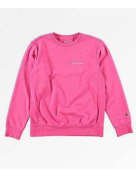 Champion Boys Heritage Pink Crew Neck Sweatshirt by Champion