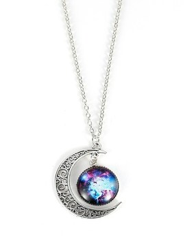 Star Sky Round & Moon Pendant Necklace by Sheinside