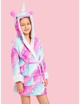 Girls Star Print Unicorn Hooded Robe by Sheinside
