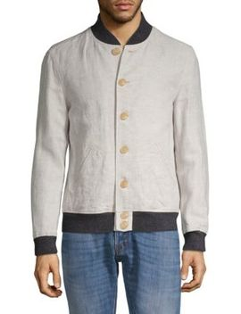 Aged Rib Trim Cotton & Linen Bomber Jacket by John Varvatos