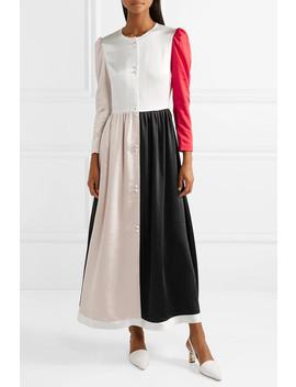 Quinn Color Block Washed Satin Maxi Dress by Rejina Pyo