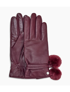 Leather Pom Glove by Ugg