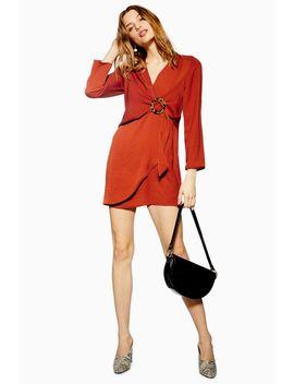 Tall Horn Ring Mini Shift Dress by Topshop