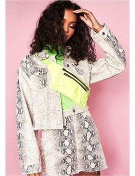 Orpha Snake Print Cropped Denim Jacket by Missy Empire