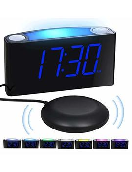Loud Alarm Clock Bed Shaker For Heavy Sleepers Deaf Elderly Kids, Bedrooms Home Kitchen Shelf  Digital Clock, Large Display & Dimmer, 7 Color Night Light, Usb Ports, Easy Set, 12/24 H, Battery Backup by Mesqool