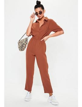 Terracotta Short Sleeve Utility Jumpsuit by Missguided