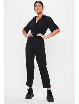 Black Short Sleeve Utility Jumpsuit by Missguided