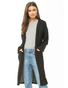Hooded Brushed Ribbed Cardigan by Forever 21